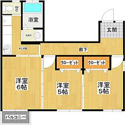 第五光洋ビル 2階3Kの間取り