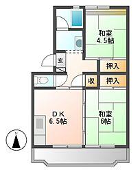 中駒九番団地6号棟[2階]の間取り