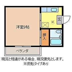 コーポ中御所[1階]の間取り