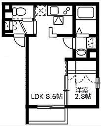 JR山手線 大崎駅 徒歩4分の賃貸マンション 1階1LDKの間取り
