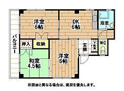 福岡県北九州市戸畑区元宮町の賃貸アパートの間取り