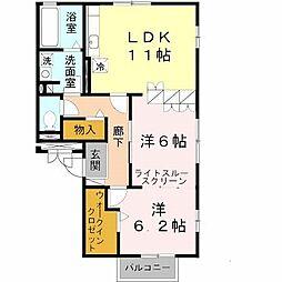 大阪府堺市北区北長尾町4丁の賃貸アパートの間取り
