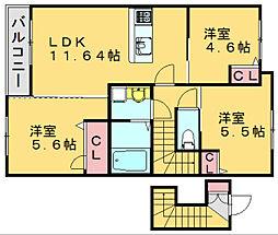 サンライズ門松[203号室]の間取り