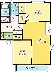 コモンシティ志井 C棟[2階]の間取り