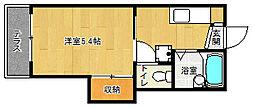 京都府京都市伏見区両替町12丁目の賃貸アパートの間取り
