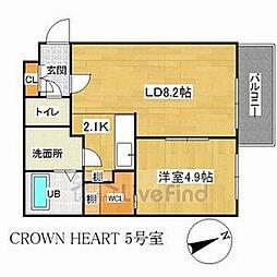 札幌市営南北線 中の島駅 徒歩6分の賃貸マンション 4階1LDKの間取り