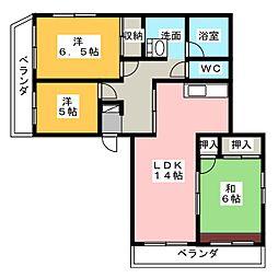 亀の井ハイツ[3階]の間取り