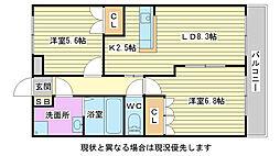兵庫県加古川市平岡町新在家2101丁目の賃貸アパートの間取り