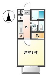 愛知県名古屋市天白区天白町大字八事字山田の賃貸アパートの間取り