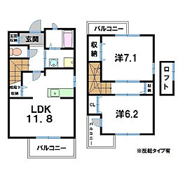 滋賀県近江八幡市金剛寺町の賃貸アパートの間取り