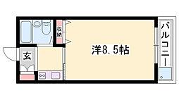 JR播但線 野里駅 徒歩20分の賃貸マンション 3階1Kの間取り