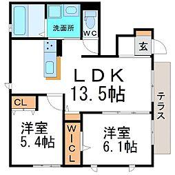 兵庫県尼崎市西川2丁目の賃貸アパートの間取り