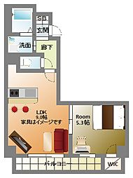 大阪府大阪市浪速区日本橋東3丁目の賃貸マンションの間取り