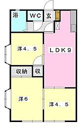 フローラKIKU B[105号室]の間取り