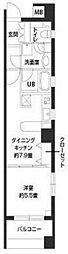 東京メトロ日比谷線 八丁堀駅 徒歩8分の賃貸マンション 4階1DKの間取り