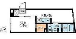 コンポジット早稲田 3階1DKの間取り