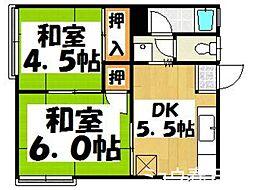 福岡県春日市惣利4丁目の賃貸アパートの間取り