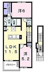 フランフランサクラ B棟[2階]の間取り