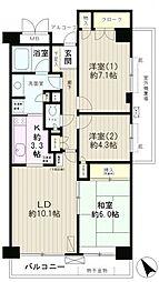 高田馬場パークホームズ 8階3LDKの間取り