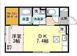 JR津山線 法界院駅 徒歩10分の賃貸アパート 1階1DKの間取り