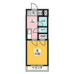 ハイツEBATAII[1階]の間取り