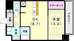神戸市西神・山手線 新長田駅 徒歩3分の賃貸マンション 2階1DKの間取り