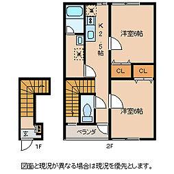 長野県岡谷市長地小萩2丁目の賃貸アパートの間取り