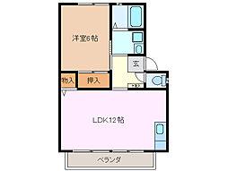 三重県桑名市大字西別所希望ケ丘の賃貸アパートの間取り