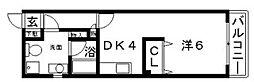 アパルトマン阪南町[4階]の間取り
