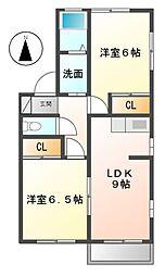 愛知県名古屋市緑区有松の賃貸アパートの間取り