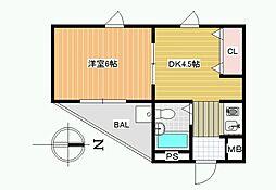 JPアパートメント藤井寺[4階]の間取り