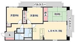 兵庫県神戸市東灘区本山町岡本の賃貸マンションの間取り