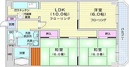 フェリシア小田原マンション 2階3LDKの間取り