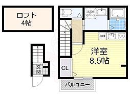 南海高野線 初芝駅 徒歩10分の賃貸アパート 2階ワンルームの間取り