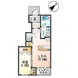 合田 晋成様アパート2期新築工事 1階1LDKの間取り