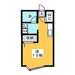 キュウブEX三俣[1階]の間取り