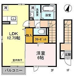 モダンヒル 弐番館 2階1LDKの間取り