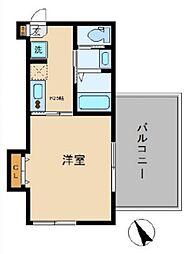 Sunny Hill Court Nakanosakaue 3階1Kの間取り