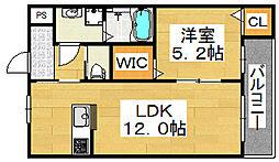カサベルテ北花田III[2階]の間取り