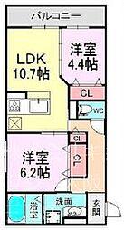 仮称東淀川区豊里Droom 1階2LDKの間取り