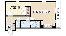愛知県名古屋市瑞穂区惣作町2丁目の賃貸マンションの間取り