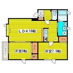 北海道札幌市東区北二十条東17丁目の賃貸アパートの間取り