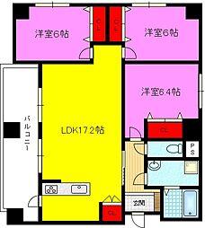 イーストマンションII[5階]の間取り