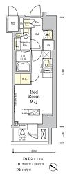 ザ・クラス南麻布 7階ワンルームの間取り