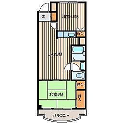 コーポ南浅間[303号室]の間取り