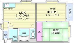 キャッスルES 1階2LDKの間取り