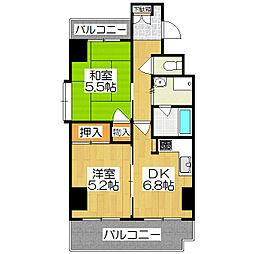 ライオンズマンション京都西陣[701号室]の間取り