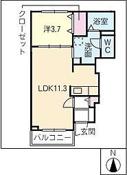 愛知県北名古屋市鍜治ケ一色村内西の賃貸アパートの間取り