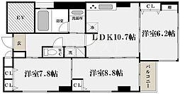キルシェ北堀江[2階]の間取り
