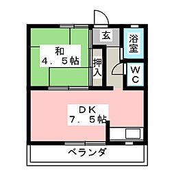 コーポ大樹[1階]の間取り